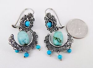 Vintage Handmade Mexican Sterling and Turquoise Filigree Earrings
