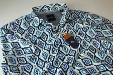 Tommy Bahama Camp Shirt Ionian Ikat Bering Blue T316673 100% Silk New Large L