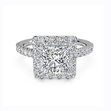 Princess Halo 1.30 Ct Diamond Proposal Engagement Ring 14K White Gold Size 7 8 9