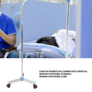 2 Hook Adjustable IV Pole Steel IV Drip Stand Infusion Holder For Home Hospital