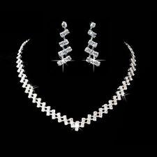 Set Halskette Collier Strass Ohrringe Schmuckset Schmuck Braut Hochzeit Silber