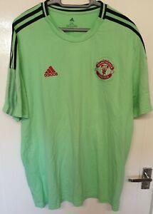 Adidas Manchester United Lime Green Tee Shirt XXL Mens