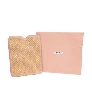 RRP €220 MIU MIU Nappa Leather Tablet Sleeve Case Universal Studded Padded
