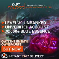 FLASH SALE! [NA 70K+] League of Legends Unranked Account NA SMURF LoL 70000+ BE