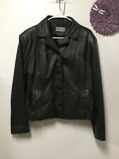 Ladies black leather four button coat size 14 to 16 Clio Leather 51