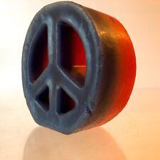 "VTG ORIGINAL 1960s~5""CANDLE~PEACE LOVE SYMBOL~BLUE RED WAX HIPPIE COUNTERCULTURE"