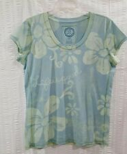 Life is Good Women's Size L Fitted Soft Cotton Blend T-Shirt Floral Print Blue