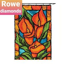 DIY Latch Hook Rug Kit Stained glass flowers mosaic bright colour Unique Gift UK