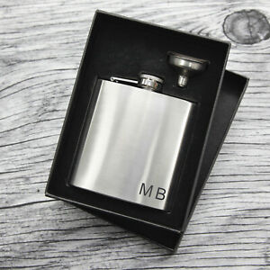 Personalised Engraved Hip Flask Set Engraved Initials Set - Birthday Wedding !!
