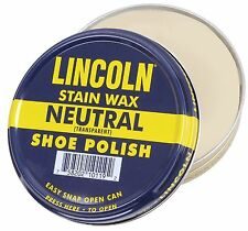 Lincoln Neutral Stain Wax Shoe Polish - Cleans, Shines & Polishes All Leather
