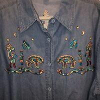 Vintage 90s Denim Shirt XXL Passion-i Embroidered Graphics OOAK Wearable Art