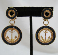 Butler Clip on Earrings Marine Anchor Navy Blue Gold Tone Dangle Naval Round