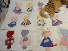 New listing Vintage Sun Bonnet Sue feedsack Appliqué Quilt Squares 15 hand sewn appx13.5�