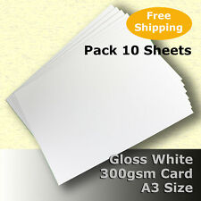 10 Sheets Gloss White Cast Coat Card 1/sided A3 Size 300gsm #H7268 #LHHH
