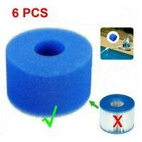 6Pcs for Intex Pure Spa Reusable Washable Foam Hot Tub Filter Cartridge S1  O2Q6