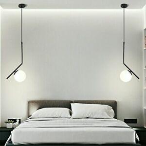Glass Pendant Light Black Metal Ceiling Lamp Home Lighting Kitchen Modern Light