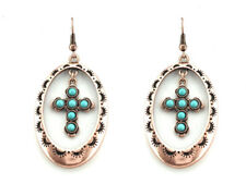 EARRINGS Burnished Coppertone Blue Turquoise Colored Dangle Cross Pierced Wire