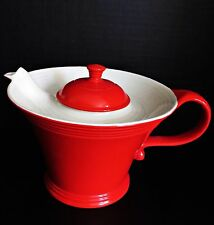 Vintage  Art Deco Retro HALL CHINA Teapot Melody Red & White Porcelain 6 cup 6''