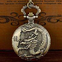 Retro Bronze Chinese Dragon Pattern Pocket Watch Quartz Necklace Pendant Gift