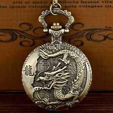 Retro Bronze Chinese Dragon Pattern Pocket Watch Quartz Necklace Pendant Gift