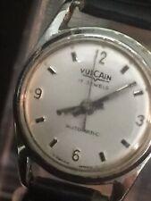 vulcain vintage watch Ladies 17 Jewels Automatic Silvertone,20mm Case Black