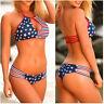 Stars Stripes American Flag USA Bandage Bikini Push-up Bra Strap Bottom Beach M{