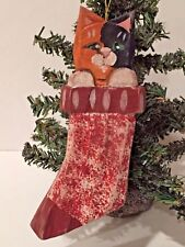 NEW! Wood Folk Art Style CAT and STOCKING CHRISTMAS Tree ORNAMENT - FREE SHIP!