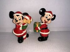 Walt Disney Productions Pair Of Mickey Mouse Hand Painted Figurine Korea 4 1/2�