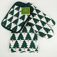 Kate Spade SPRUCE STREET 3pc Set - Xmas Tree Pot Holder,Oven Mitt,Kitchen Towel