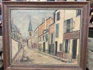Maurice Utrillo French Village Street Scene Painting In Antique Wood Frame
