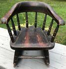 Antique Windsor Rocking Chair Miniature Salesmen's Sample Child's Old Paint AAFA