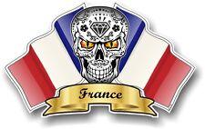 Mexican Sugar Skull & France French Tricolour Flags vinyl car helmet sticker