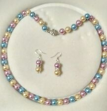 8mm multicolor Akoya Shell Pearl necklace AAA 18 inches Earring Set  c03
