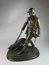 STUNNING COLD CAST BRONZE FIGURINE Hunstman with Hound on Lead OLIVER TUPTON