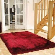 Mega Thick Shaggy Rugs In Raspberry Red - 7cm Deep Plush Pile 80x150cm