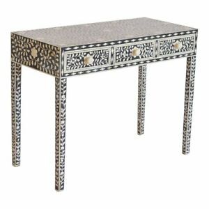 Bone inlay console table black floral
