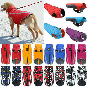 Dogs Winter Warm Waterproof Coat Clothes Fleece Lined Pet Vest Jacket Outwear