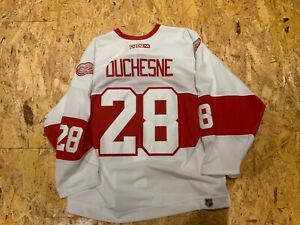 Game worn Steve Duchesne  Detroit Red Wings Alumni jersey COa