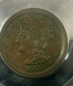 1855 Braided Hair Half Cent PCGS AU 58 Cert# 20617994