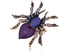 Golden Amethyst Purple Crystal Rhinestone Spider Vogue Stretch Ring