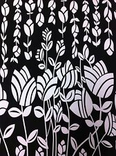 Black & Off White Tulip Border Print on Stretch ITY Polyester Spandex Fabric