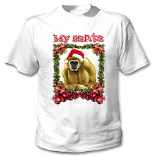 MONKEY  MY SANTA CHRISTMAS - NEW WHITE COTTON TSHIRT