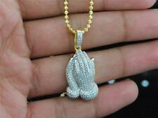 Sterling Silver Yellow Gold Finish Iced Out Mini Prayer Hand with Moon Cut Chain