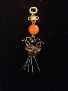 Antique Asian Ornate Carnelian Silver Basket Pendant With Fringe!