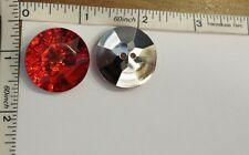 Acrylic Stone Buttons Silver Plated Back 27mm Red, Craft sew on button 10pcs Set