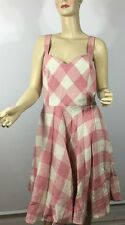 Ralph Lauren Blue Label Dress 14 Pink White Check Linen
