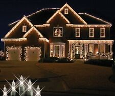 """8.5' 100 Clear Icicle lights on Green Wire with 4"""" Spacing"""
