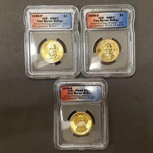 2008 - PDS 3 Coin Presidential Dollar Set ICG MS 67 PR 69 DCAM Van Buren Z2257