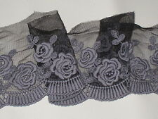 "2 yards 4 1/2"" width silver gray color non stretch cotton&tulle lace trim"
