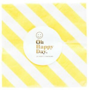 Oh Happy Day Happy Stripes Paper Cocktail Napkins Yellow - NEW